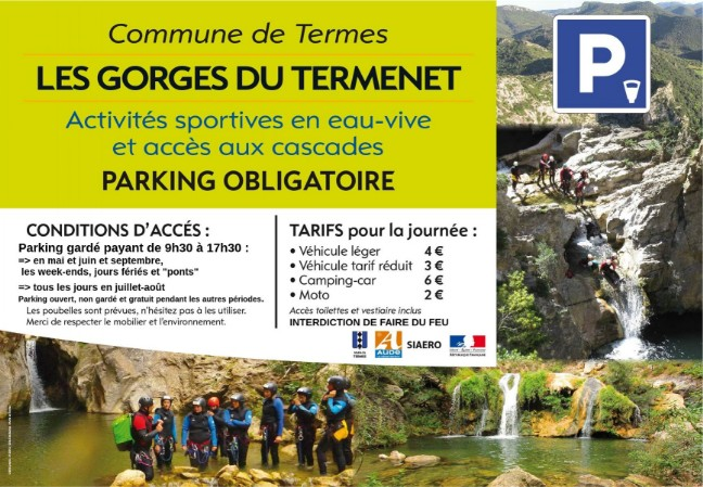 2018 fonctionnement parking gorges de Termes